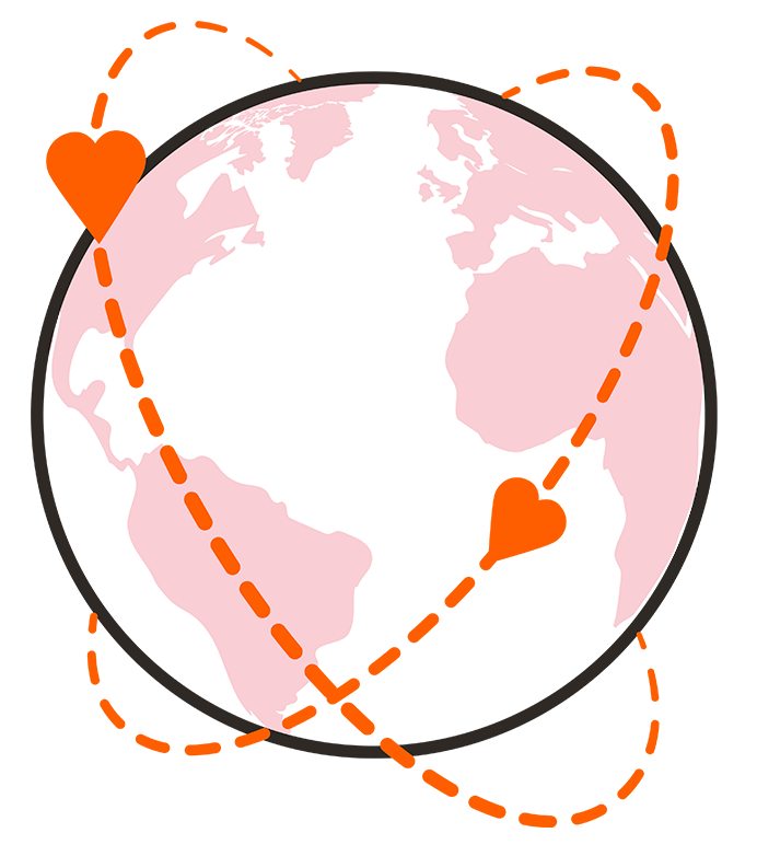 Graphic of hearts encircling the Earth